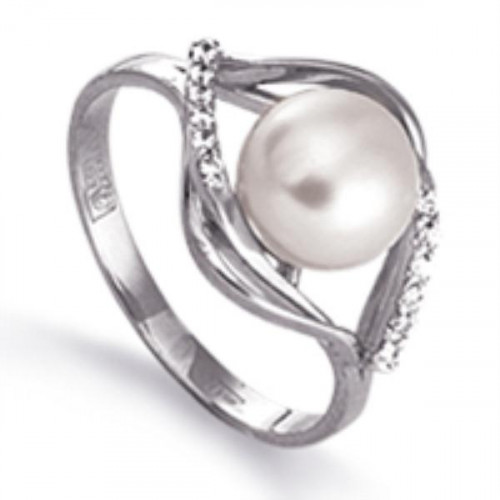Кольцо из белого золота 585 пробы с жемчугом