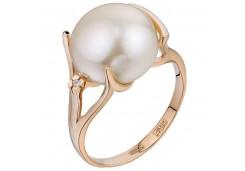 Женские золотые кольца с жемчугом 125529