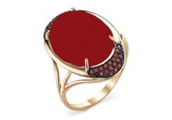 Кольцо из красного золота 585 пробы с кораллом