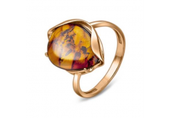 Кольцо из красного золота 585 пробы с янтарем