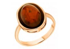 Женские золотые кольца, вставка янтарь 90418