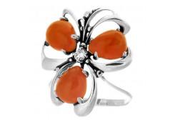 Кольца из серебра, вставка коралл 96906