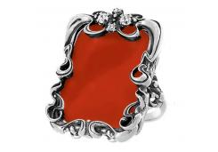 Кольца из серебра, вставка коралл 98564