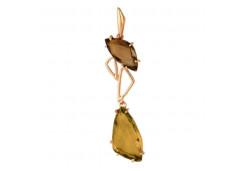 Золотая подвеска с раух-топазом