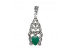 Серебряная подвеска с агатом зеленым