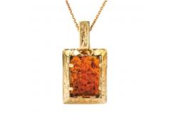 Подвеска из красного золота 585 пробы с янтарем
