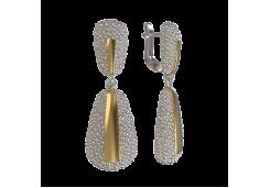 Серебряные cерьги висячие с позолотой