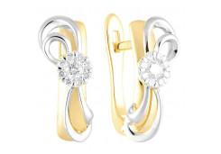 Серьги классические из желтого золота с бриллиантом