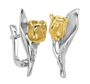 Серьги из желтого золота 585 пробы с бриллиантом