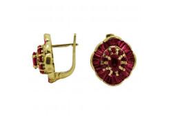 Серьги классические из желтого золота с рубином
