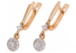 Золотые cерьги висячие с бриллиантом