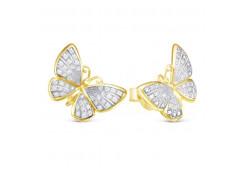 Золотые серьги гвоздики, с бриллиантами 117856