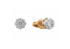 Золотые серьги гвоздики, с бриллиантами 130993