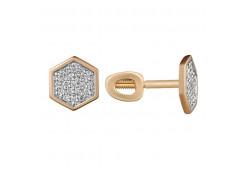 Золотые серьги гвоздики, с бриллиантами 132758