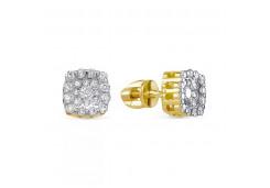 Серьги пусеты (гвоздики) из желтого золота с бриллиантом