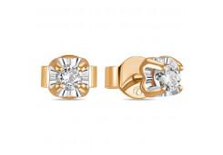 Золотые серьги гвоздики, с бриллиантами 126530