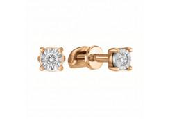 Золотые серьги гвоздики, с бриллиантами 118311