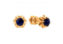 Золотые cерьги пусеты (гвоздики) с сапфиром