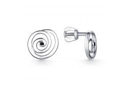 Серебряные cерьги пусеты (гвоздики) с бриллиантом