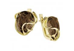 Серьги классические из желтого золота с раух-топазом