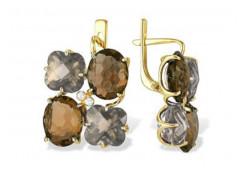 Серьги классические из желтого золота с полудрагоценными камнями