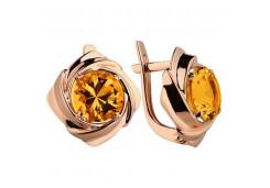 Золотые cерьги классические с цитрином