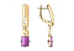 Золотые cерьги висячие с аметистом