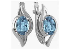 Серебряные cерьги классические с топазом