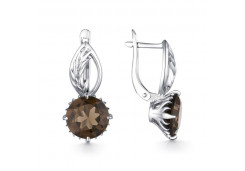 Серебряные cерьги с раух-топазом