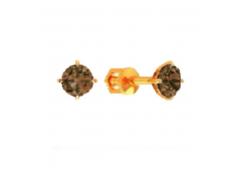 Золотые cерьги пусеты (гвоздики) с раух-топазом