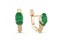 Золотые cерьги с агатом зеленым