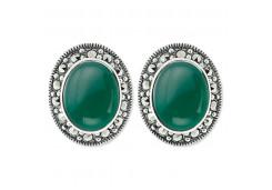 Серебряные cерьги классические с агатом зеленым