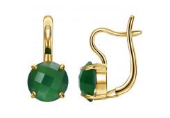Серебряные cерьги с позолотой с агатом зеленым