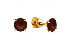 Серьги из красного золота 585 пробы с кварцем