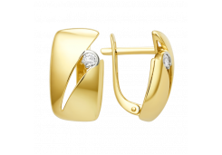 Серьги классические из желтого золота с фианитом
