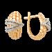 Золотые cерьги классические с фианитом