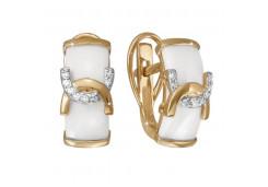 Золотые cерьги классические с керамикой