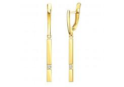 Серьги висячие из желтого золота с фианитом