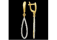 Серьги из желтого золота 585 пробы с фианитом