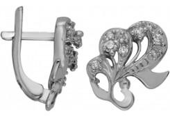 Серебряные cерьги классические с фианитом