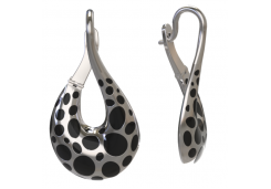 Серебряные cерьги классические с эмалью