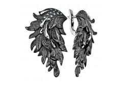 Серебряные cерьги классические с кристаллом Сваровски