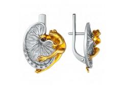 Серебряные cерьги классические с позолотой с кристаллом Сваровски