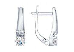 Серебряные cерьги с кристаллом Сваровски