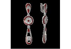 Серебряные cерьги висячие с эмалью