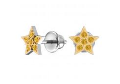 Серебряные cерьги пусеты (гвоздики) с позолотой с фианитом