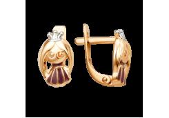 Золотые cерьги классические с эмалью