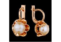 Золотые cерьги классические с жемчугом