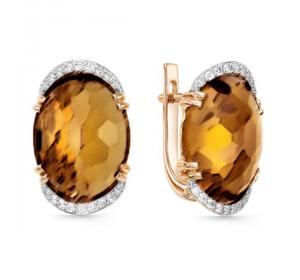 Золотые cерьги с янтарем