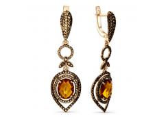 Золотые cерьги висячие с янтарем